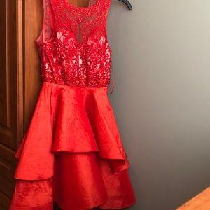 Camille La Vie red cocktail dress